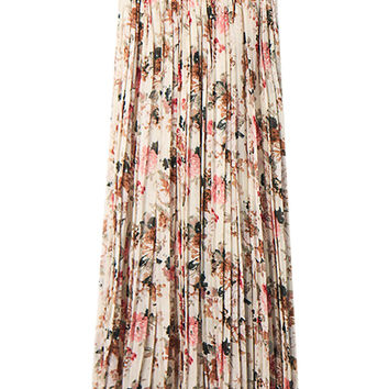 Beige Floral Print Pleated Maxi Skirt