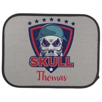 Personalized Skull Mask Tattoo Car Mat