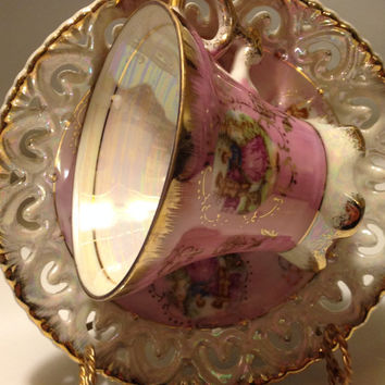 Vintage Royal Crown Footed Teacup and Saucer Luster Finish Regency Couple 55/905 Reticulated Saucer Pink Gold