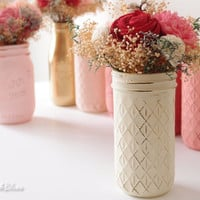 One Quilted Painted and Distressed Mason Jar - Vase - Wedding and Home Decor - Hostess Gift