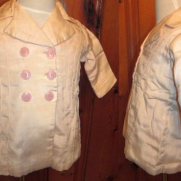 Vintage 1920s Toddler's Pea Coat  Pink Silk Sailor Style Fold Pleat Stitch Peacoat