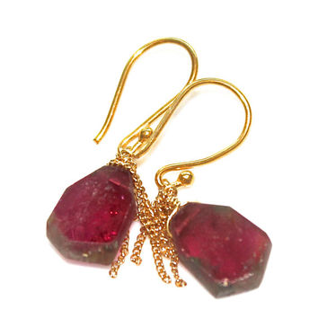 Watermelon Tourmaline Slice Earrings Gold Tassel Earrings Dekicate Earrings Everyday Jewelry Tourmaline Jewelry FizzCandy