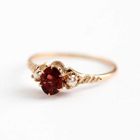 Victorian Garnet Ring - Antique 10k Rose Gold Genuine Red Gem & Seed Pearl - Size 7 1/4 Vintage Early 1900s Dainty Three Stone Fine Jewelry