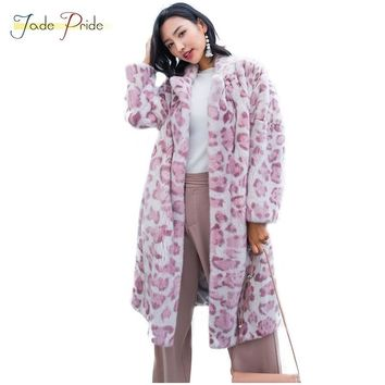 jade pride 2018 New Pink Leopard Print Full Pelt Real Mink Fur Coat Long Turn-down Collar Mink Coat Office Lady Style Mink Coats