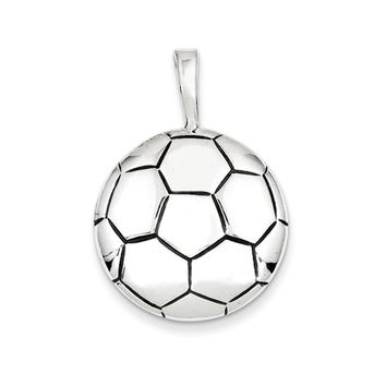 Sterling Silver 22mm Domed Antiqued Soccer Ball Pendant