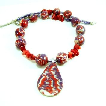 Polymer Clay Red and Purple Beaded Necklace with Pendant