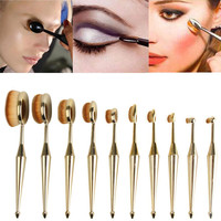 Hot New 10PCS Toothbrush The New Mermaid Makeup Brush Foundation Oval Brushes One Set Beauty Girl Nov 15