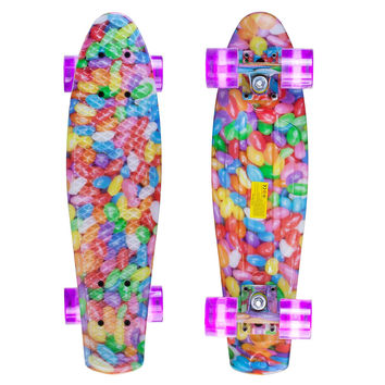 Led Graphic Penny Style Cruiser Board 22 inch Jelly Plastic Skateboard Complete