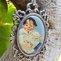 Guardian Angel Pendant Necklace - Angel Boy Blue