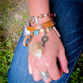semi precious stone bracelet with feathers and recycled fur