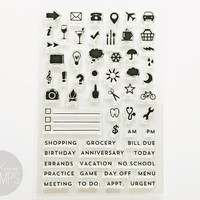 "Ms. Kimm Creates JOURNAL (basic icons) 4""x6"" Clear Photopolymer Planner Stamp Set"