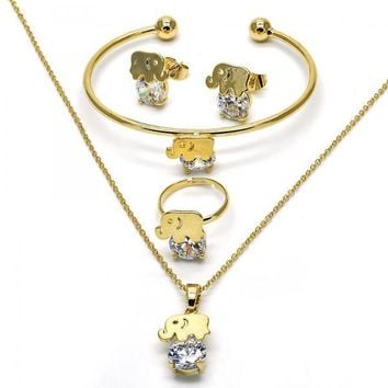 Gold Layered Earring and Pendant Children Set, Elephant Design, with Cubic Zirconia, Golden Tone