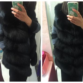 SQXR FUR real fox fur vest  full pelt  fox fur vest women  regular standard covered button coat natural fox fur XXXL