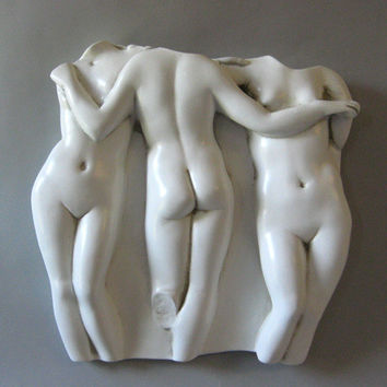 Three Graces Greek Wall Relief for Indoors or Outdoors 15 to 29H