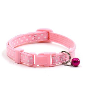 6 Color Nylon Cute Pet Dog Puppy Cat Collars Fashion Polka Dot Print Adjustable Pet Animals Neck Chain With Bell D38JL20