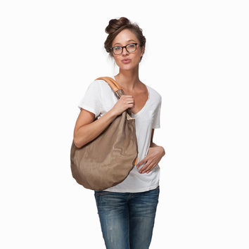 BROWN Large hobo bag, slouch tote bag, mesh canvas bag, women bag, summer bag, Leah Lerner bag