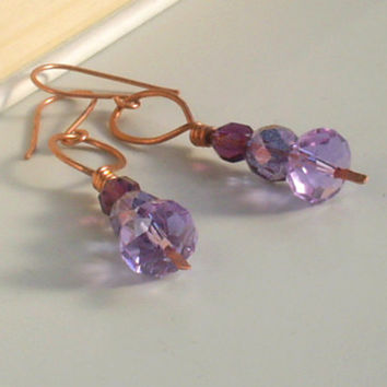 Lilac copper earrings, purple dangle earrings, handmade purple  wire wrapped jewelry