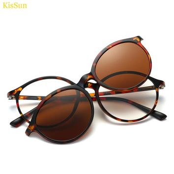 2017 New 17.2g Magnetic Clip on Sunglasses Women Polarized Magnetic Clip on Glasses Transparent Glass Frame Eyeglasses Brown