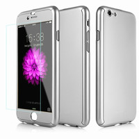 Luxury Ultra-thin Hybrid Hard PC Case For iphone 6 6s 6Plus 6sPlus Front Tempered Glass Metal Back Cover Coverage 360 Degree