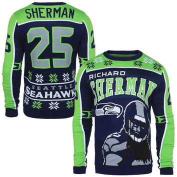 Men's Seattle Seahawks NFL Richard Sherman Klew Navy Name & Number Ugly Sweater