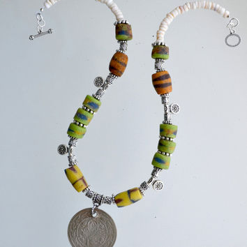 African Trade Beads Antique Necklace with Authentic Antique Silver Ottoman Coin, Yellow and Green Glass Beads, ancient, authentic 100%