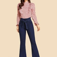 Tied Flare Jeans