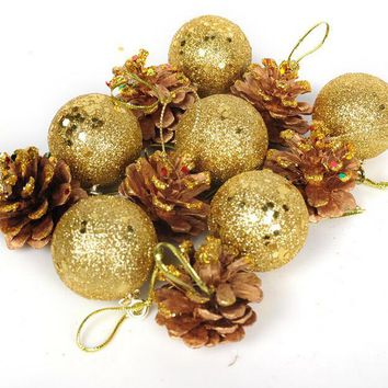12Pcs Hanging Balls Pine Cones Christmas Tree Party Decoration Ornament Gold Silver Decor For Home And Party Supplies 4cm