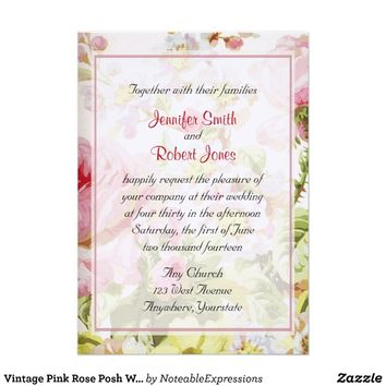 Vintage Pink Rose Posh Wedding Invitation from Zazzle.com