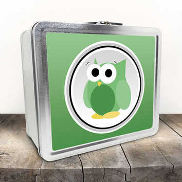 Funny Cute Green Owl Lunch Box - Green Gradient Background - Cute Owl Cartoon Illustration - Tin School Lunch Art Craft Supplies Box