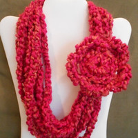 SALE color: Razzled // Girls Hot Pink Scarf Necklace crochet with Flower, one size from baby to tween, Wedding Flower girl soft Scarf Neckla