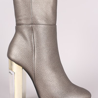 Pebbled Chunky Metallic Lucite Heeled Ankle Boots
