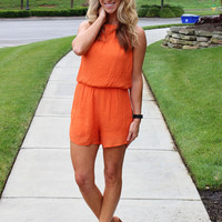 No Regrets Orange Romper