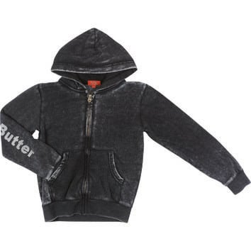 "Butter GIRLS ""AMERICAN GIRL"" BURNOUT ZIP HOODIE - Black"