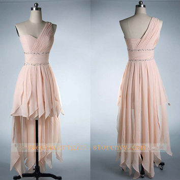 Charming Sweetheart Pink One Shoulder High-Low Prom Dres