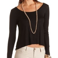Cross-Back Long Sleeve Crop Top by Charlotte Russe
