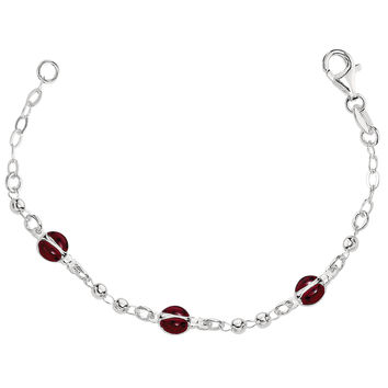Baby Bracelet With Enameled Ladybug Charms In Sterling Silver - 6 Inches