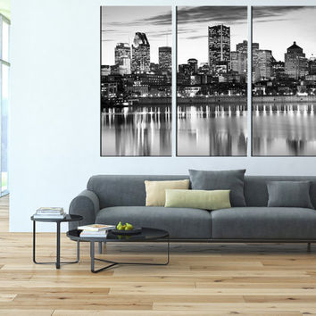 Montreal city Skyline Canvas Print wall art, extra large wall art, canvas gallery art, Montreal wall art, Montreal city art print canvas t94