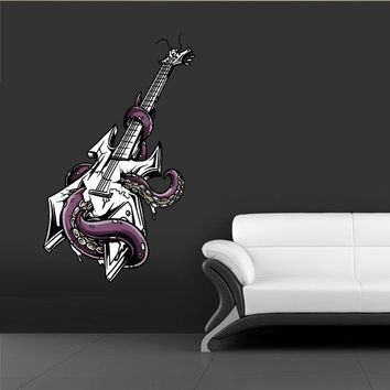 Full Color Wall Decal Mural Sticker Decor Art Poster Guitar Music Octopus Poulpe Tentacles (col343)