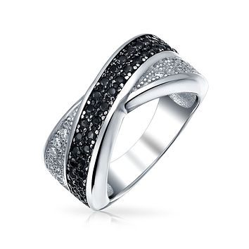 Two Tone Black White CZ Criss-Cross X Band Ring 925 Sterling Silver