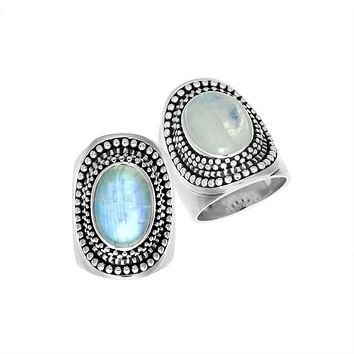 "AR-1078-RM-7"" Sterling Silver Ring With Rainbow Moonstone"