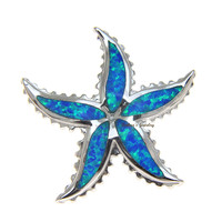 INLAY OPAL HAWAIIAN SEA STAR STARFISH STERLING SILVER 925 SLIDER RHODIUM PENDANT