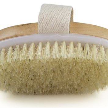 Dry Skin Body Brush - Improves Skin's Health And Beauty - Natural Bristle - Remove Dead Skin And Toxins, Cellulite Treatment , Improves Lymphatic...
