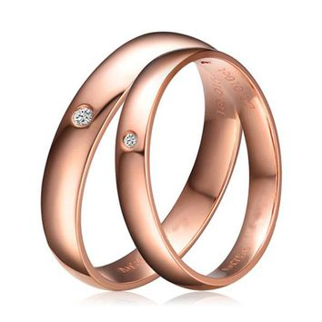 Natural Diamond Couple Set Rings Genuine 0.02ct H/SI Diamond 18K Solid Rose Gold Wedding Band Engagement Set Ring Custom Size