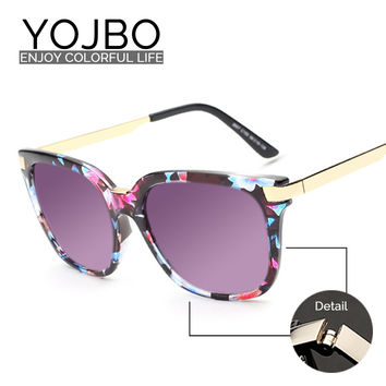 YOJBO Oversized Sunglasses Women Round 2016 Original Fashion Ladies Luxury Vintage Brand Designer Retro Sun Big Woman Glasses