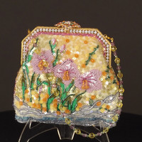 LARISA BARRERA-Floral Beaded Evening Bag