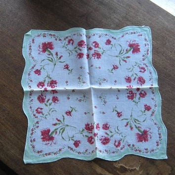 4 Colorful Vintage Floral Cotton Hankies: Blue Border w/ Ditsy Red Print; Yellow w/ Cobalt Flowers; Minty Aqua w/ Red; Coral Flora; FreeShip