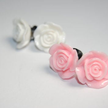 Rose 0g (8mm) Steel Plugs, Formal, Ear Gauges, Women, Stretched Ears, Wedding, Hider Plugs, Floral, Flower, Plugs for Girls, CHOOSE COLOR