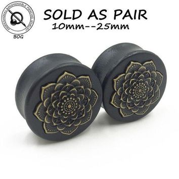 Bog 1 Pair Black Natural Wood Double Flared Ear Tunnel Plug Expanders Earlet Gauges With Mandala Flower Body Piercing Jewelry