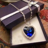 Titanic Ocean Heart Pendant Necklace