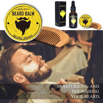 3Pcs Men Beard Care Kit Beard Balm + 30ml Beard Oil + Comb
